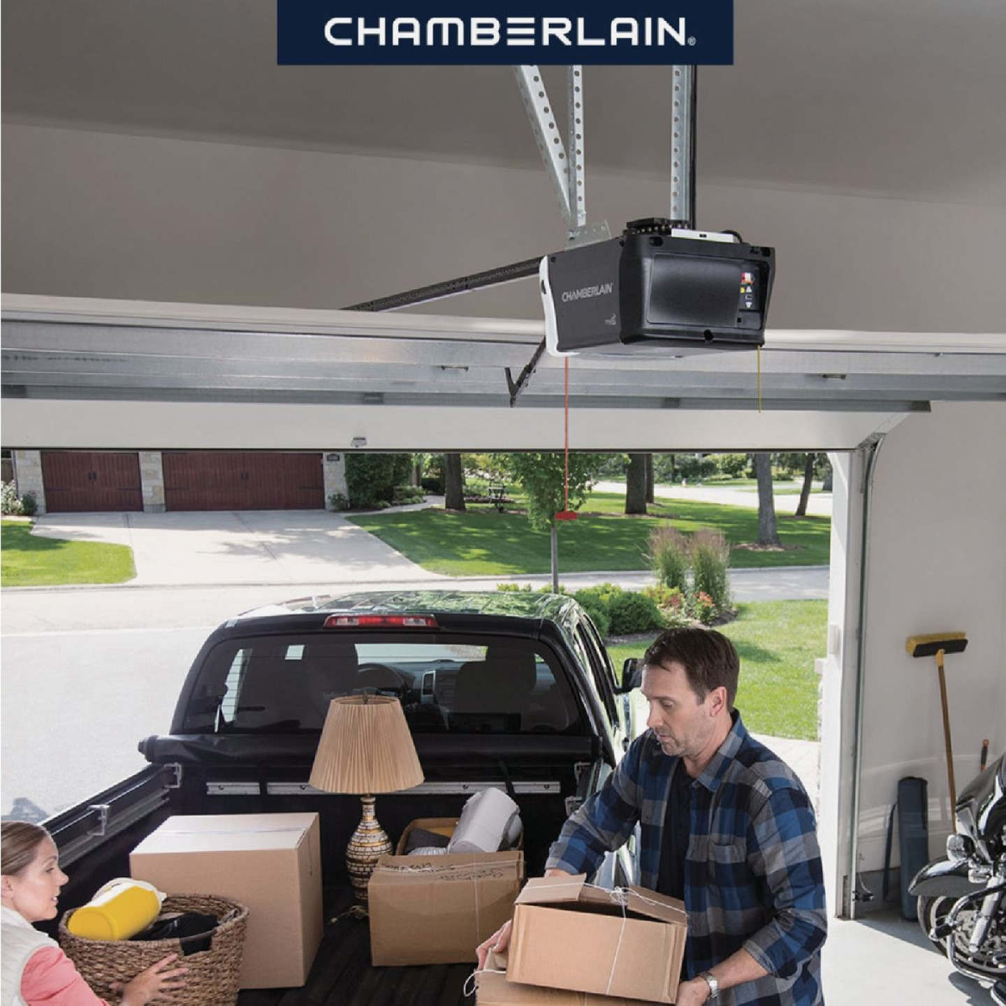 Chamberlain 1/2 HP Smartphone-Controlled Durable Chain Drive Garage Door Opener with WiFi and MED Lifting Power Image 2