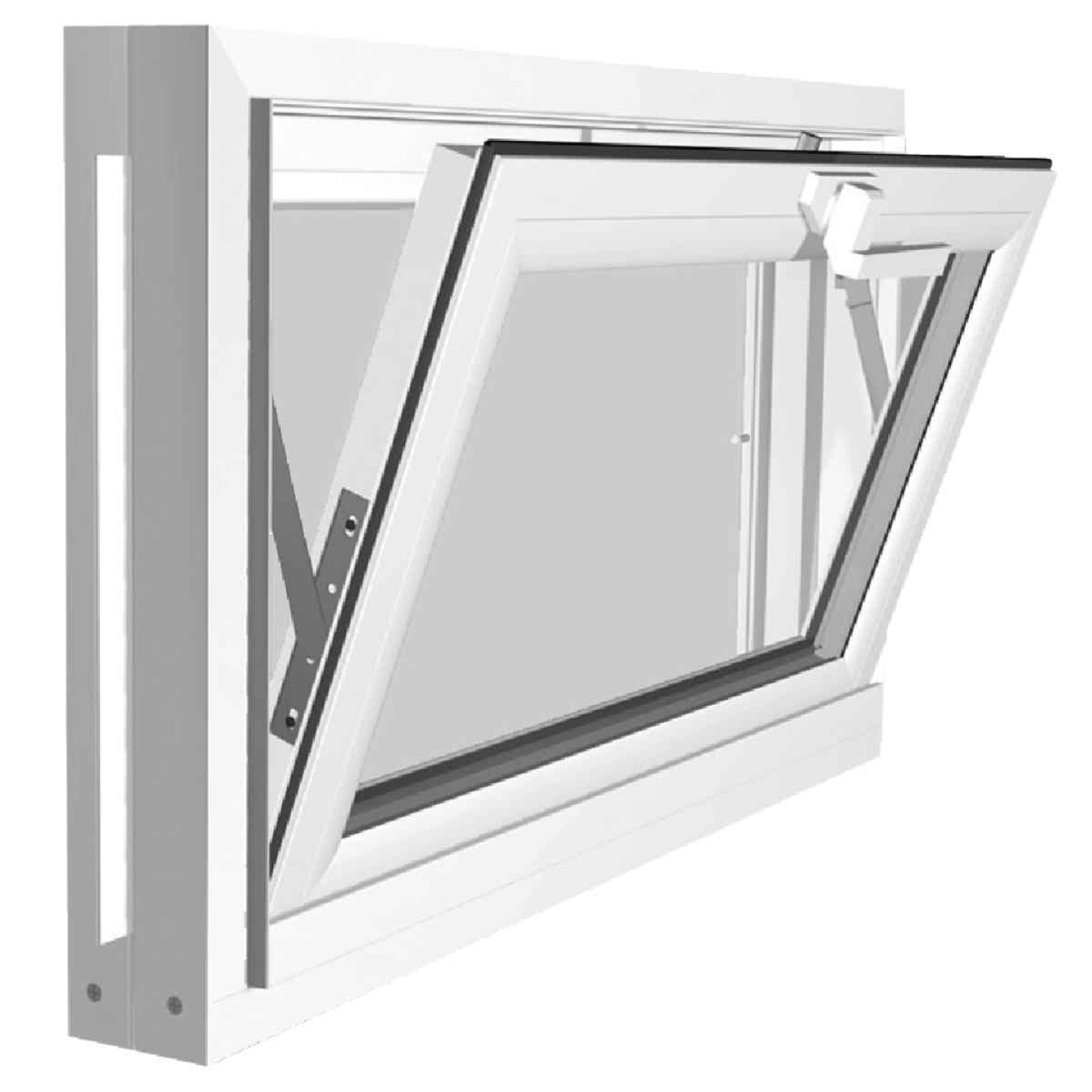 Northview Hemlock Hopper 32 In. W x 19-1/4 In. H White PVC Basement Window Image 2