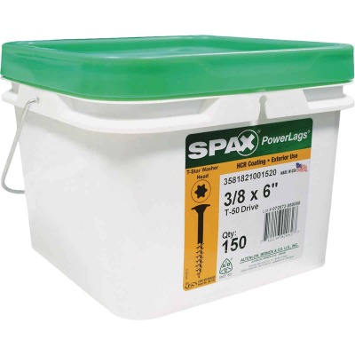 Spax PowerLags 3/8 In. x 6 In. Washer Head Exterior Structure Screw (150 Ct.)