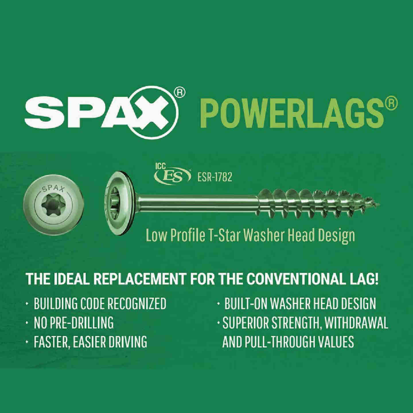 Spax PowerLags 1/4 In. x 3 In. Washer Head Exterior Structure Screw (12 Ct.) Image 4