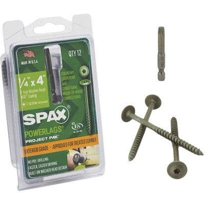 Spax PowerLags 1/4 In. x 4 In. Washer Head Exterior Structure Screw (12 Ct.)