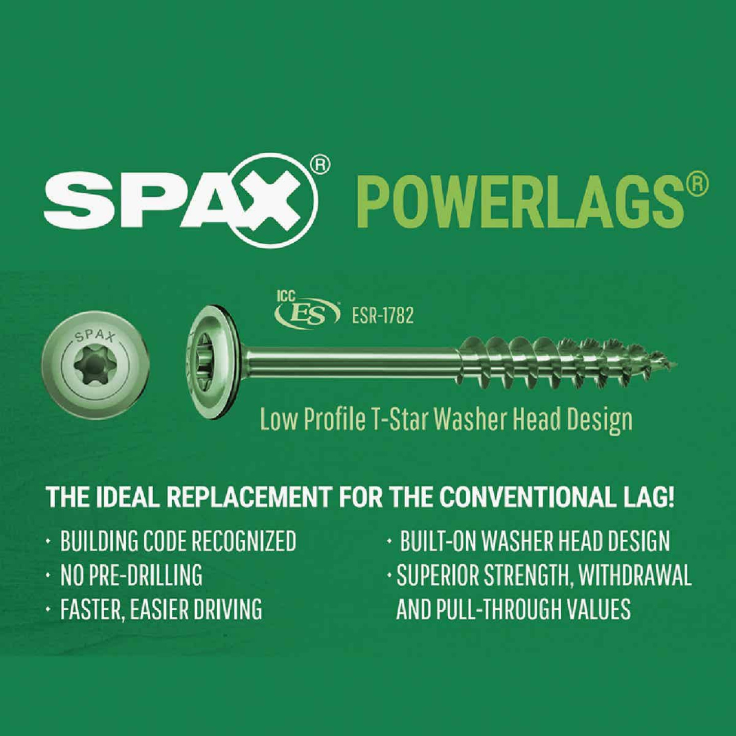 Spax PowerLags 5/16 In. x 8 In. Washer Head Exterior Structure Screw (12 Ct.) Image 4