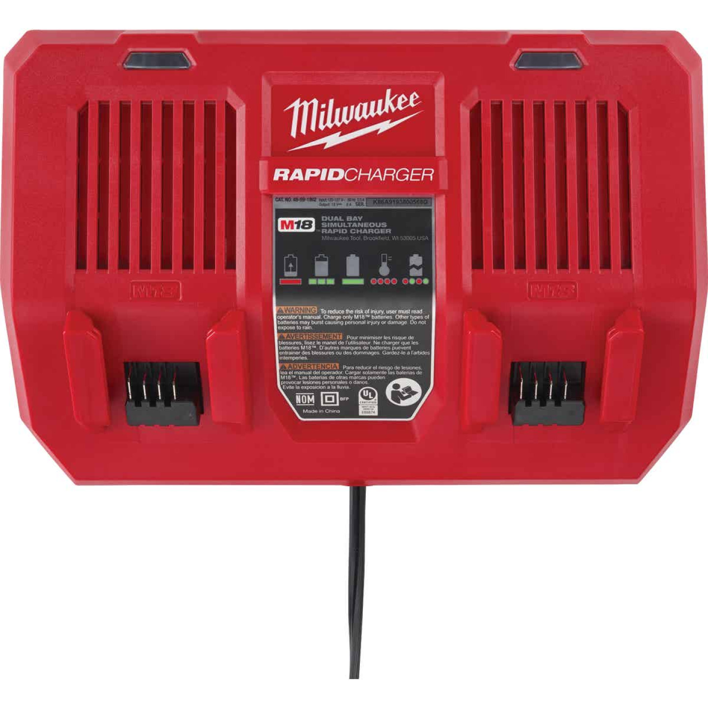 Milwaukee M18 18 Volt Lithium-Ion Dual Bay Simultaneous Rapid Battery Charger Image 1