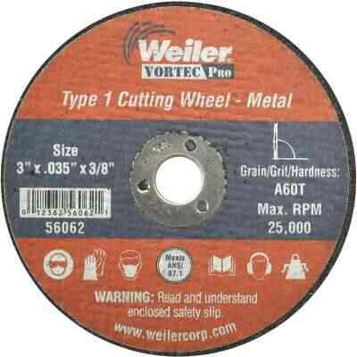Weiler Vortec Type 1 3 In. x 1/32 In. x 3/8 In. Metal/Plastic Cut-Off Wheel