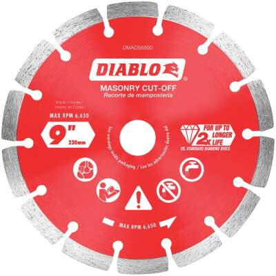 Diablo 9 In. Segmented Rim Dry/Wet Cut Diamond Blade