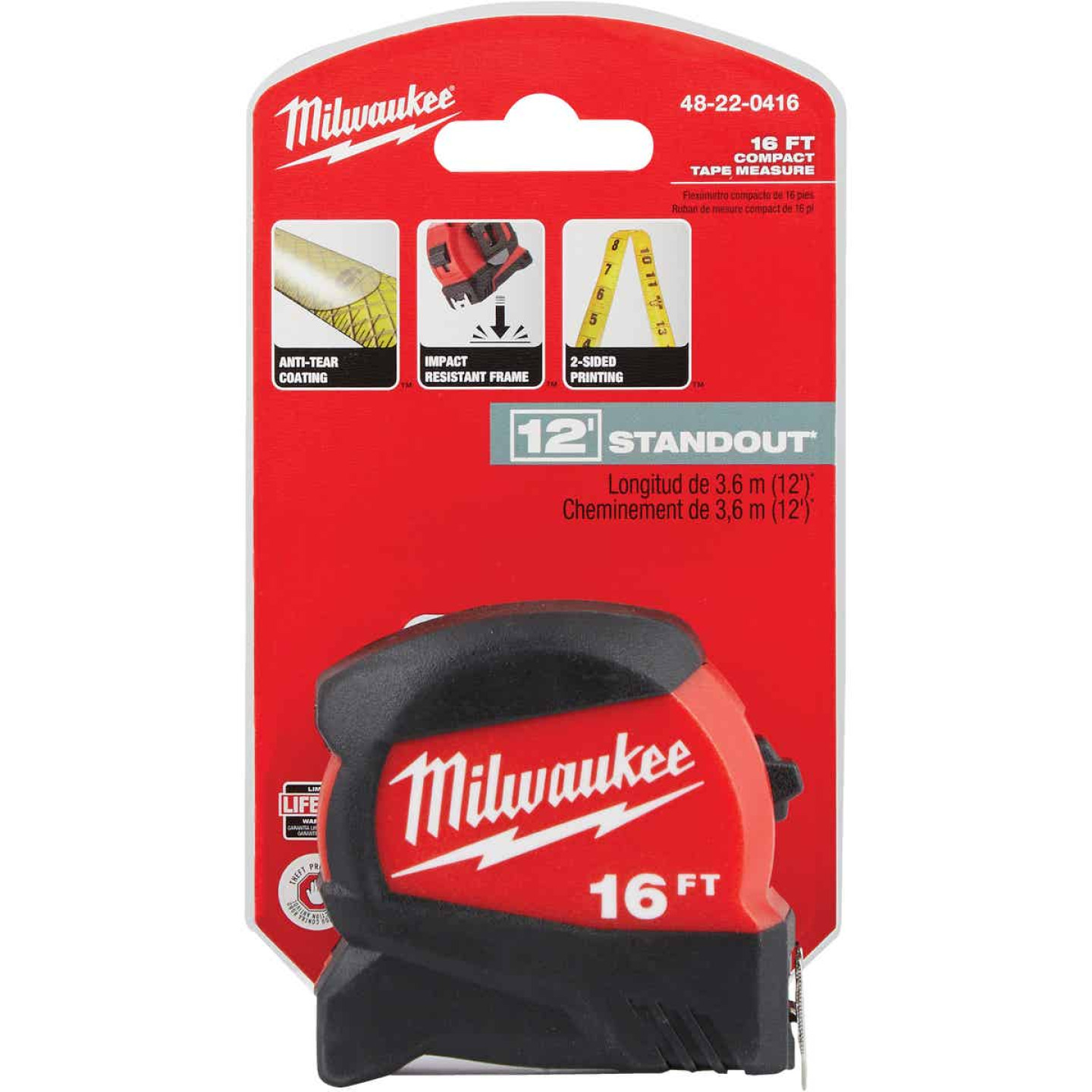Milwaukee 16 Ft. Compact Wide Blade Tape Measure Image 2