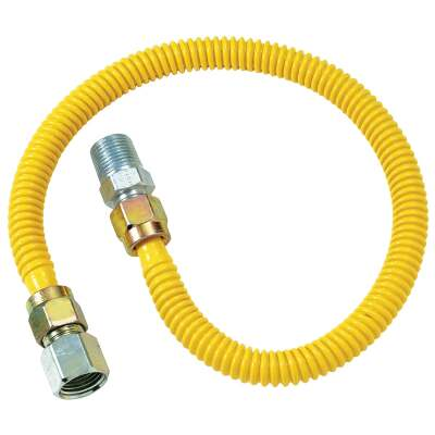 Dormont 1/2 In. OD x 48 In. Coated Stainless Steel Gas Connector, 1/2 In. FIP x 1/2 In. MIP (Tapped 3/8 In. FIP)