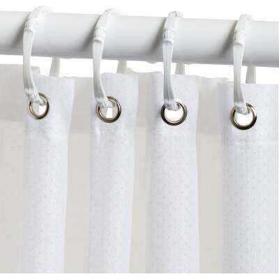 Zenith Zenna Home 70 In. x 72 In. White Fabric Shower Curtain