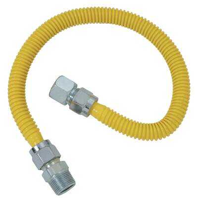 Dormont 5/8 In. OD x 36 In. Coated Stainless Steel Gas Connector, 3/4 In. FIP x 3/4 In. MIP (Tapped 1/2 In. FIP)