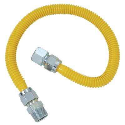 Dormont 5/8 In. OD x 60 In. Coated Stainless Steel Gas Connector, 3/4 In. FIP x 3/4 In. MIP (Tapped 1/2 In. FIP)