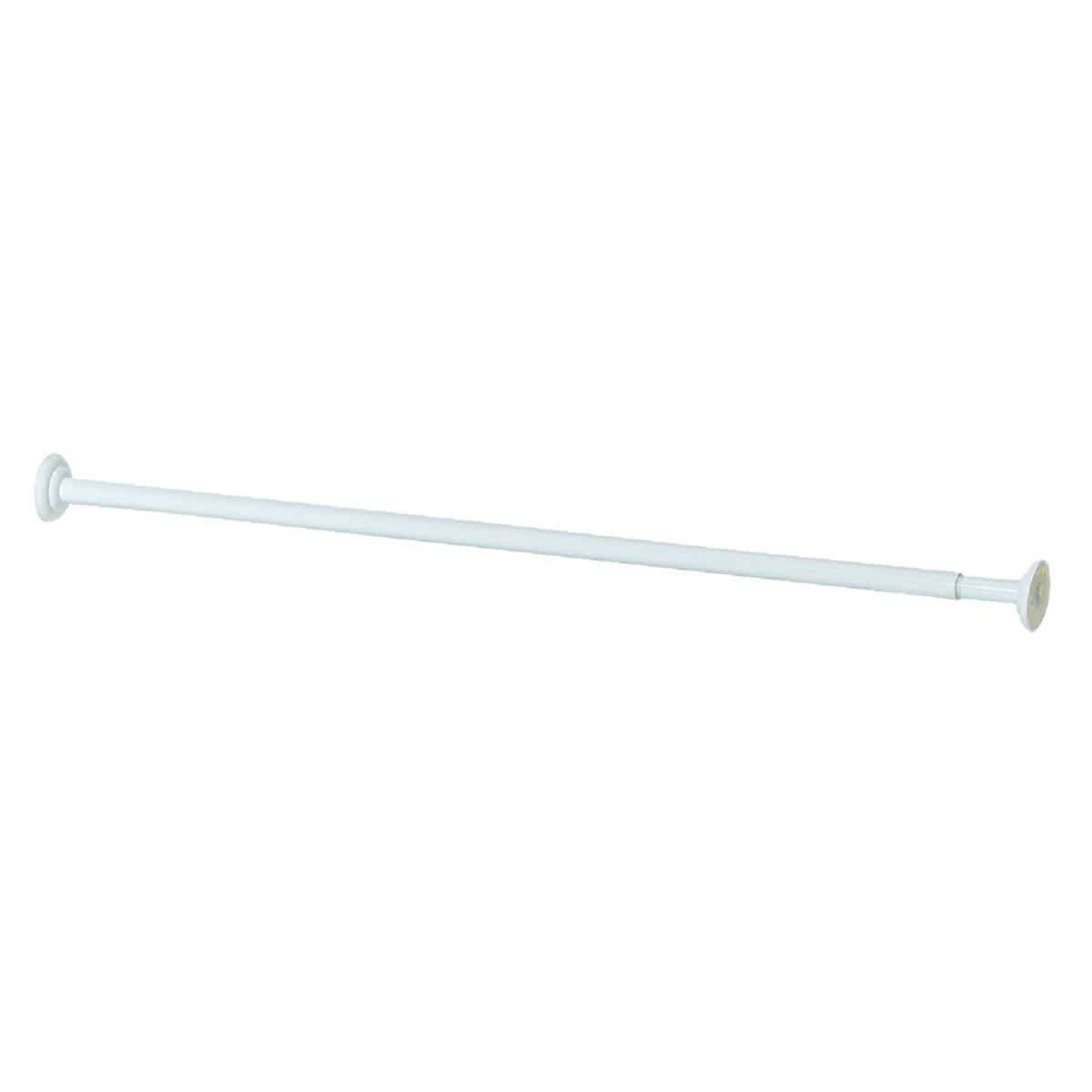 Zenith Straight 41 In. To 72 In. Adjustable Fixed Shower Rod in White Image 1