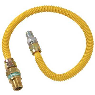 Dormont 1/2 In. OD x 24 In. Coated Stainless Steel Gas Connector, 1/2 In. MIP (Tapped 3/8 In. FIP) x 1/2 In. MIP SmartSense