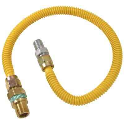 Dormont 1/2 In. OD x 60 In. Coated Stainless Steel Gas Connector, 1/2 In. MIP (Tapped 3/8 In. FIP) x 1/2 In. MIP SmartSense