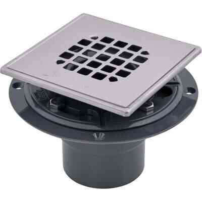 Oatey 2 In. or 3 In. PVC 130 Shower Drain for Tile Installations with 4-1/4 In. Stainless Steel Strainer