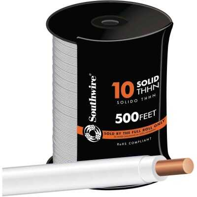 Southwire 500 Ft. 10 AWG Solid White THHN Electrical Wire
