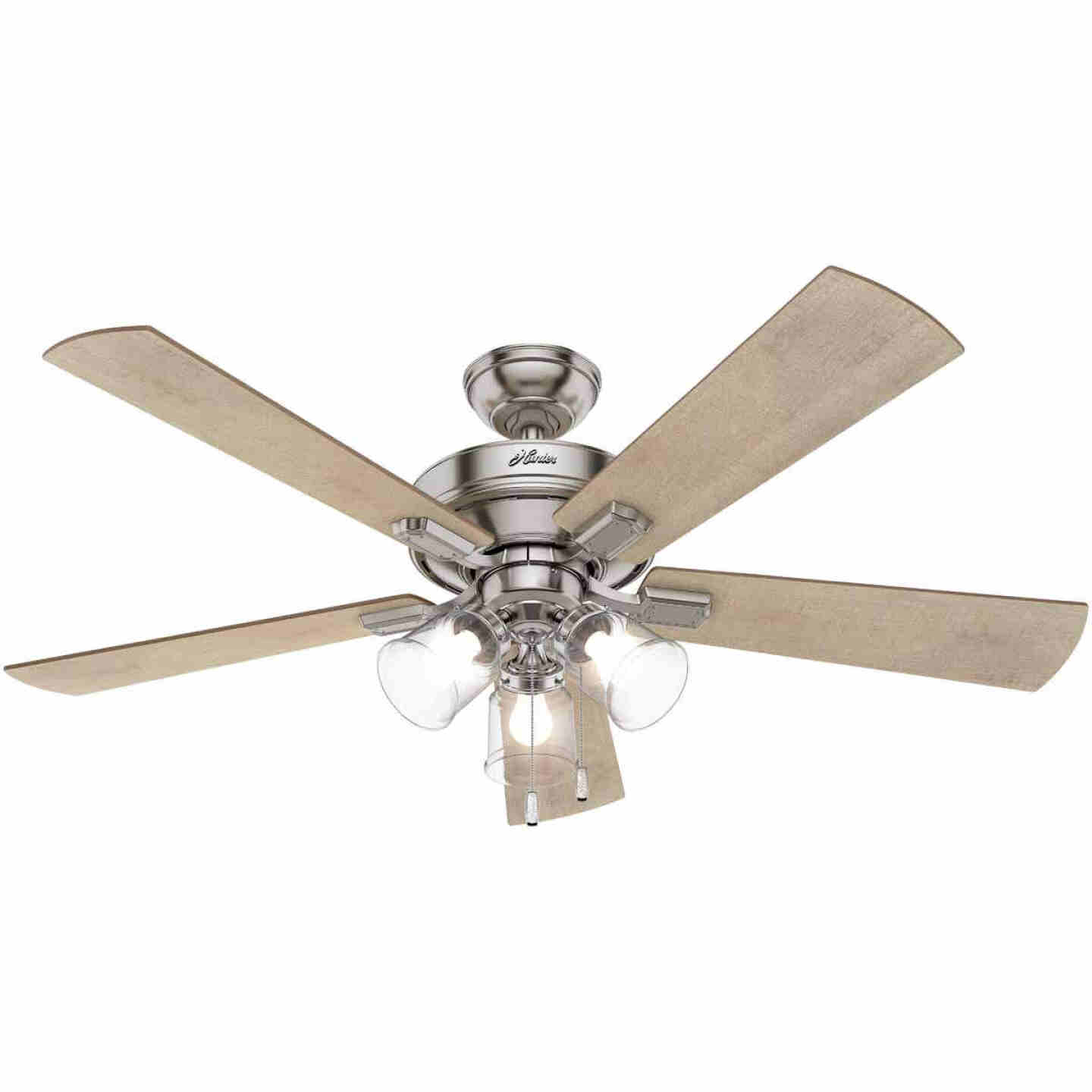 Hunter Crestfield 52 In. Brushed Nickel Ceiling Fan with Light Kit Image 1