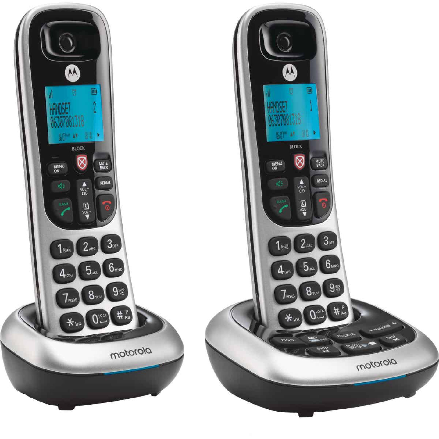 Motorola 1-Line 2-Handset Silver Cordless Phone with Answering System Image 1