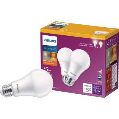 Philips 75W Equivalent Soft White A19 Medium Dimmable LED Light Bulb (2-Pack)