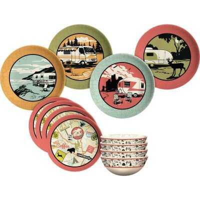 Camp Casual 100% Melamine Retro Vintage RV Dinnerware Set (12 Piece)