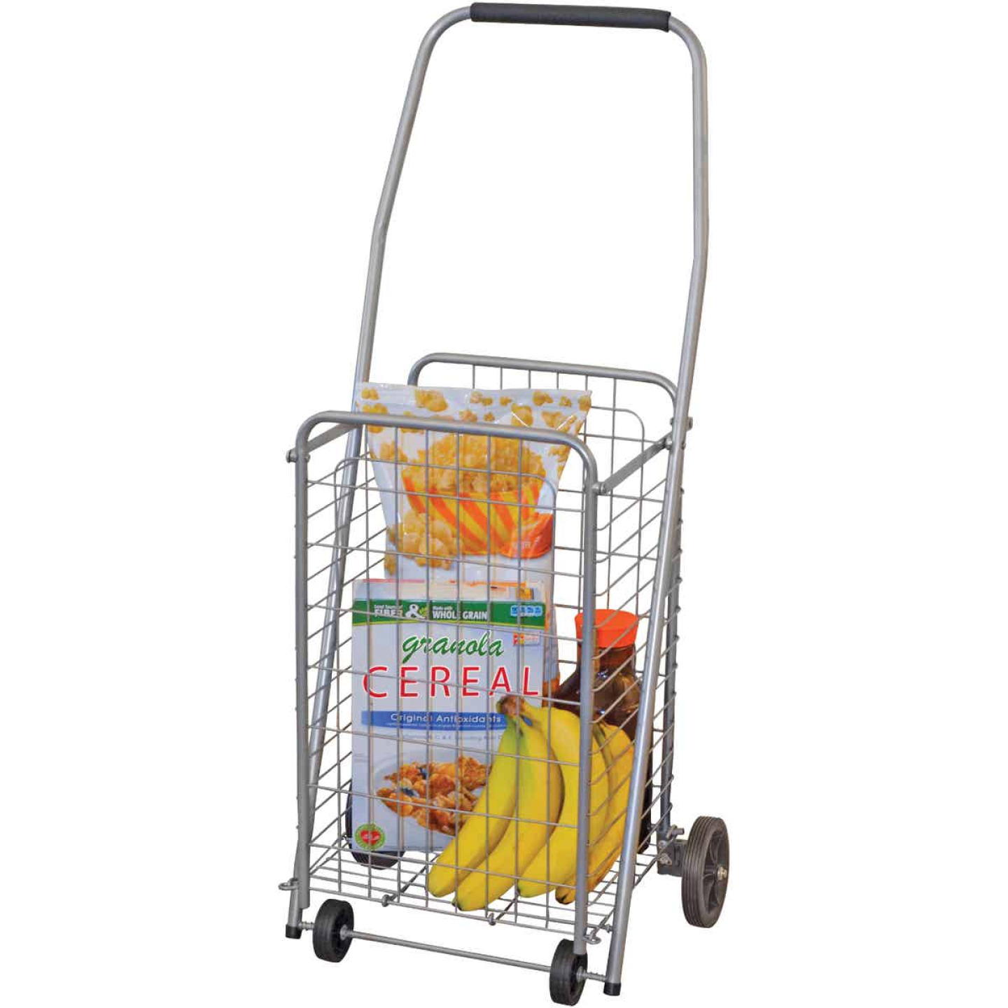 Helping Hand Pop 'N Shop 4-Wheel Silver Utility Cart Image 1