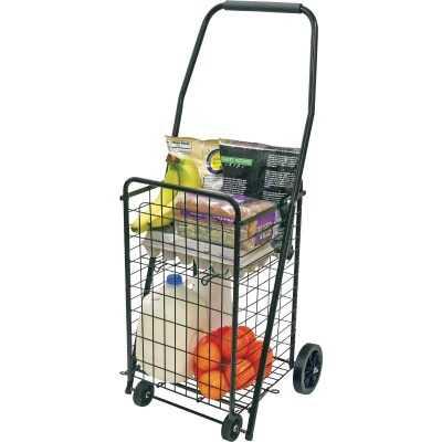 Helping Hand Pop 'N Shop 4-Wheel Black Utility Cart With Shelf
