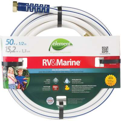 Element 1/2 In. Dia. x 50 Ft. L. Drinking Water Safe RV&Marine Hose