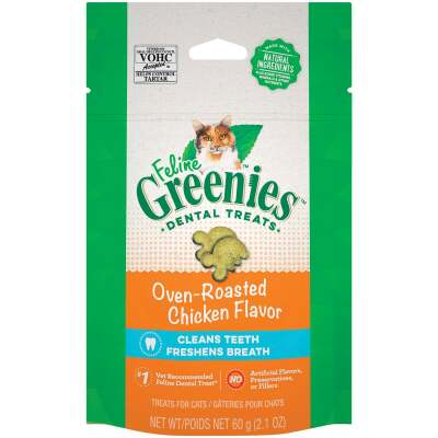 Greenies Oven-Roasted Chicken 2.1 Oz. Dental Cat Treats