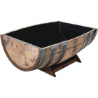 Real Wood Products 26 In. x 35 In. Oak Barrel Garden Planter Image 1