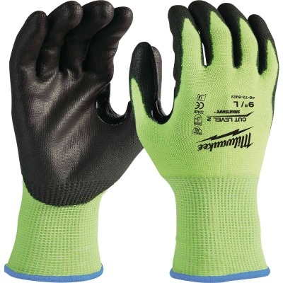 Milwaukee Men's Large Cut Level 2 High Vis Nitrile Dipped Glove