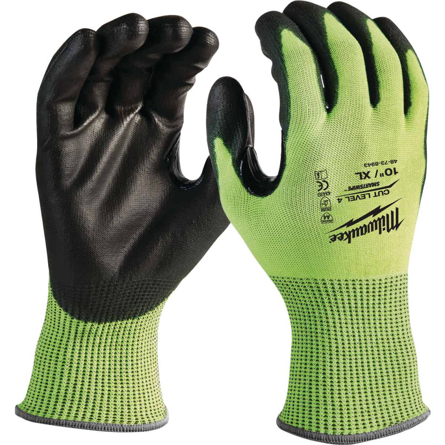 Milwaukee Men's Large Cut Level 3 High Vis Nitrile Dipped Glove Image 1