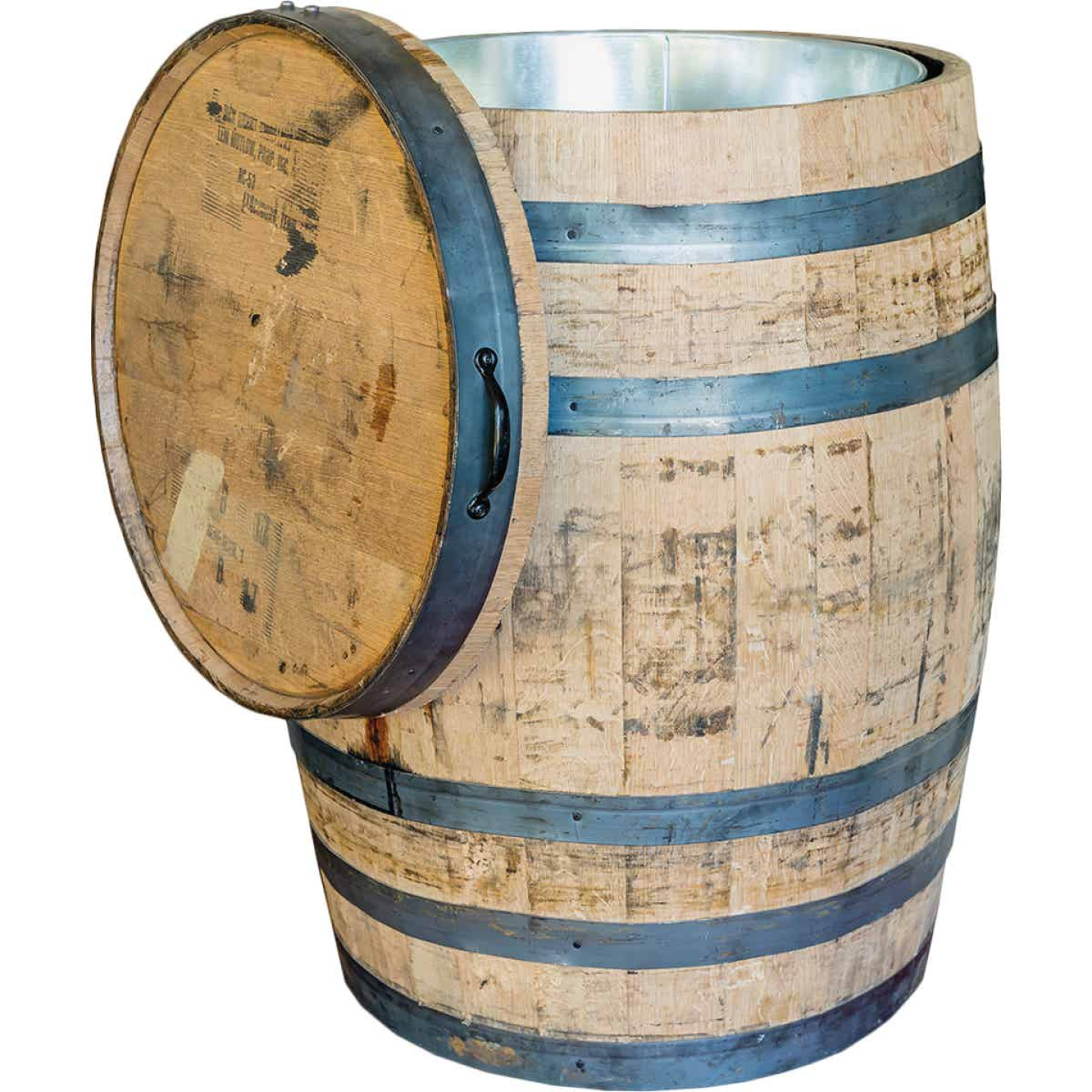 Real Wood Products 26 In. x 35 In. Oak Multi-Use Whole Whiskey Barrel Image 1