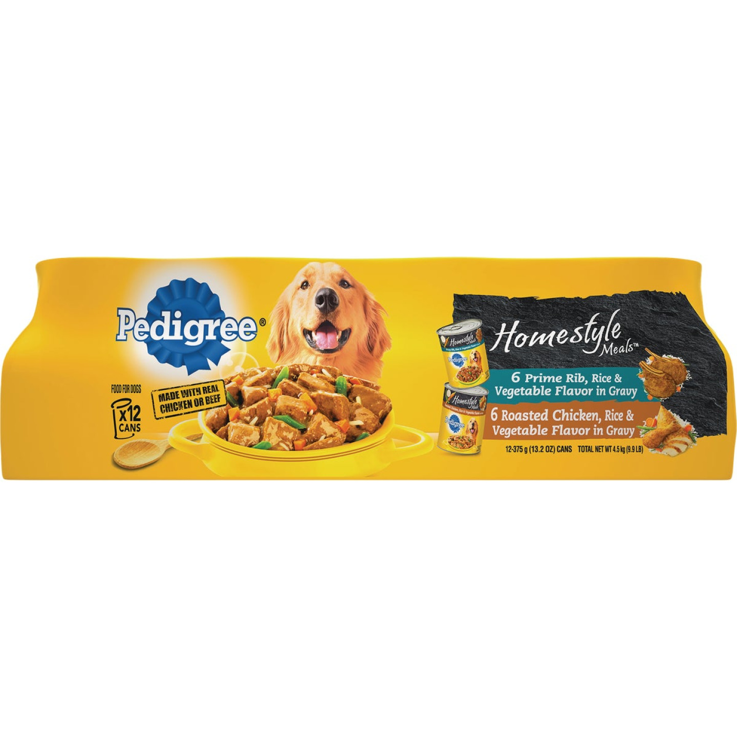 Pedigree Homestyle Meals Prime Rib, Rice, & Vegetable/Roasted Chicken, Rice & Vegetable Variety Wet Dog Food (12-Pack) Image 1