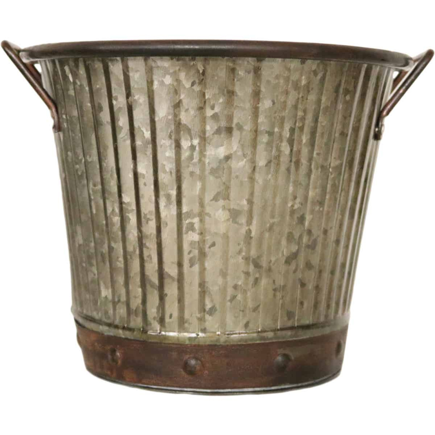 Robert Allen 7 In. x 8.5 In. x 8.5 In. Metal Aged Mocha Washboard Planter Image 1