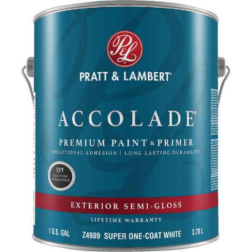 Pratt & Lambert Accolade 100% Acrylic Paint & Primer Semi-Gloss Exterior House Paint, Super One Coat White, 1 Gal.