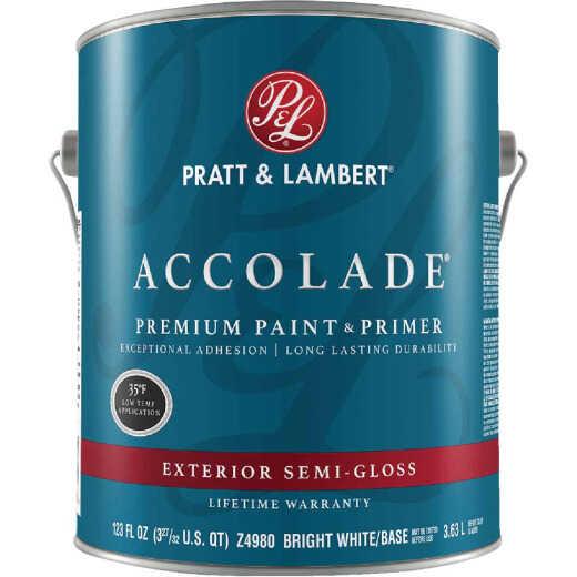 Pratt & Lambert Accolade 100% Acrylic Paint & Primer Semi-Gloss Exterior House Paint, Bright White Base, 1 Gal.