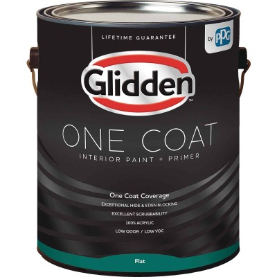 Glidden One Coat Interior Paint + Primer Flat White & Pastel Base 1 Gallon
