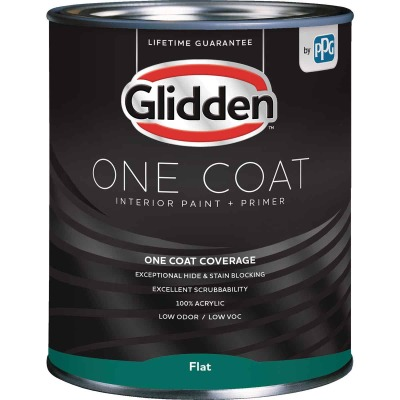 Glidden One Coat Interior Paint + Primer Flat Ultra Deep Base Quart