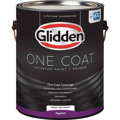 Glidden One Coat Interior Paint + Primer Eggshell Ready Mix White 1 Gallon