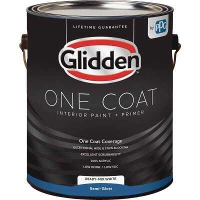 Glidden One Coat Interior Paint + Primer Semi-Gloss Ready Mix White 1 Gallon