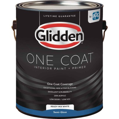 Glidden One Coat Interior Paint + Primer Semi-Gloss Ready Mix White 1 Gallon