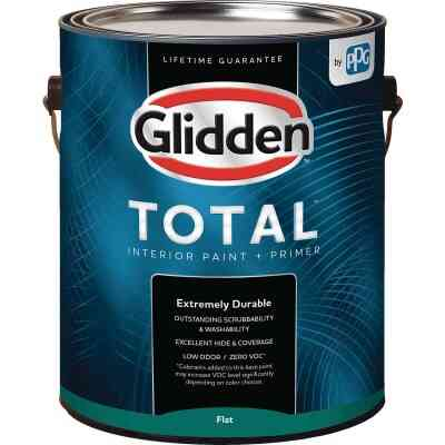 Glidden Total Interior Paint + Primer Flat White & Pastel Base 1 Gallon