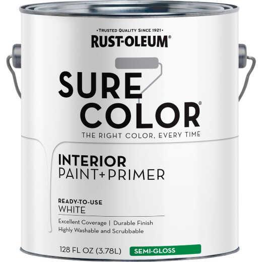 Simply Home Semi-Gloss Pure White Interior Wall Paint, Gallon