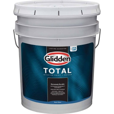 Glidden Total Interior Paint + Primer Semi-Gloss White & Pastel Base 5 Gallon Pail
