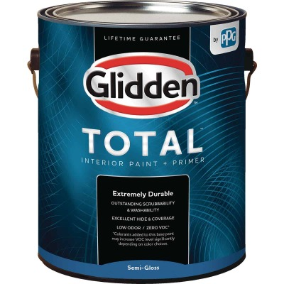 Glidden Total Interior Paint + Primer Semi-Gloss White & Pastel Base 1 Gallon