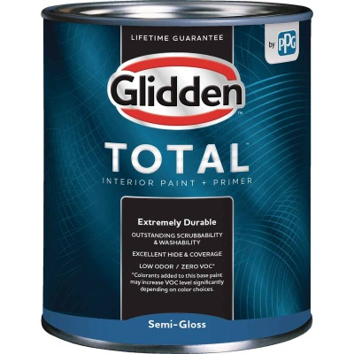 Glidden Total Interior Paint + Primer Semi-Gloss Ultra Deep Base Quart