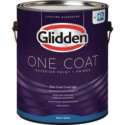 Glidden One Coat Exterior Paint + Primer Semi-Gloss Ultra Deep Base 1 Gallon