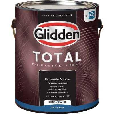 Glidden Total Exterior Paint + Primer Semi-Gloss Ready Mix White 1 Gallon