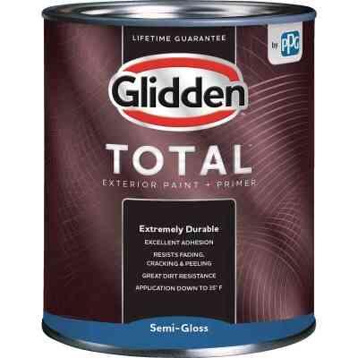 Glidden Total Exterior Paint + Primer Semi-Gloss Ultra Deep Base Quart