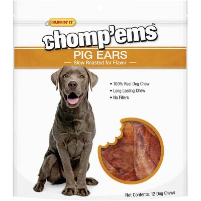Ruffin' it Chomp'ems Natural Flavor Pig Ear Dog Treat (12-Pack)